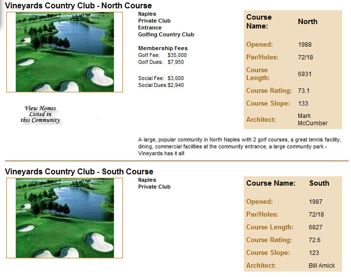 Vineyards golf club information
